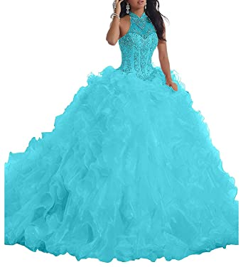 258a1879d92 20KyleBird Women s High Neck Beaded Organza Ruffles Quinceanera Dresses  Ball Gowns Sweet 16 Dresses Aqua Blue