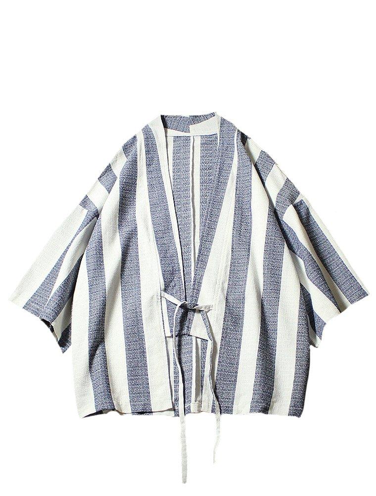 Lavnis Men's Stripe Kimono Cardigan Casual Cotton Linen Seven Sleeves Open Front Coat S