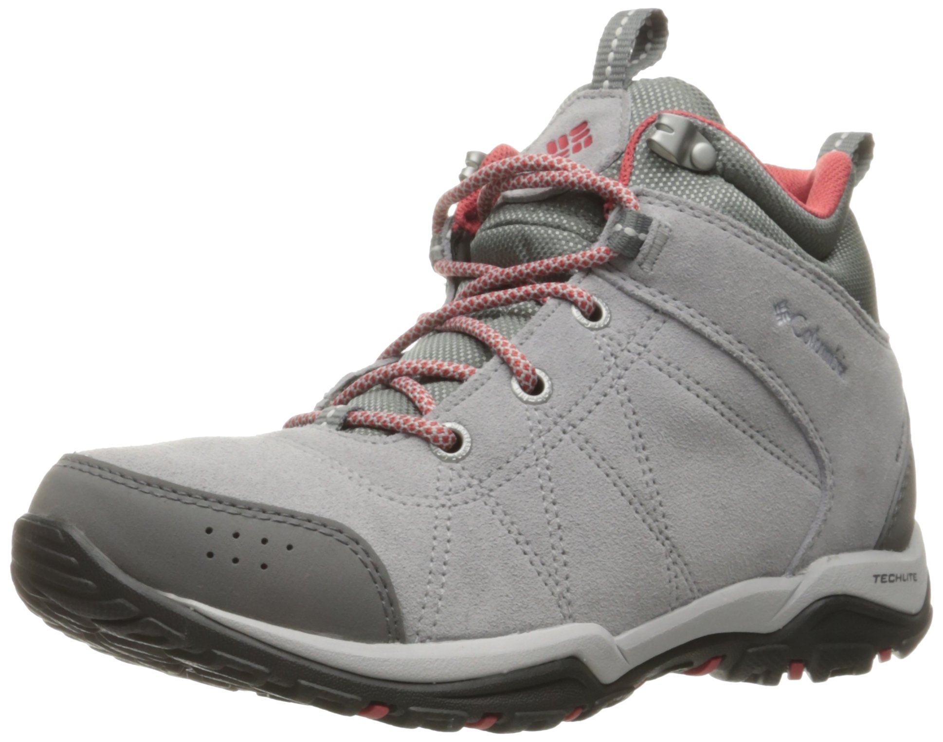 Columbia Women's Fire Venture Mid Waterproof Hiking Boot, Steam, Sunset Red, 5 B US