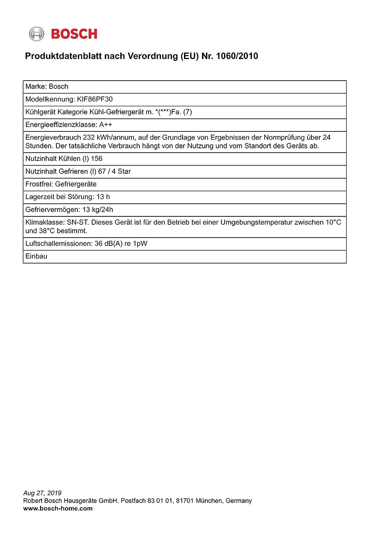 Bosch KIF86PF30 Einbau-K/ühl-//Gefrierkombination Flachscharnier//Serie 8 EEK A++
