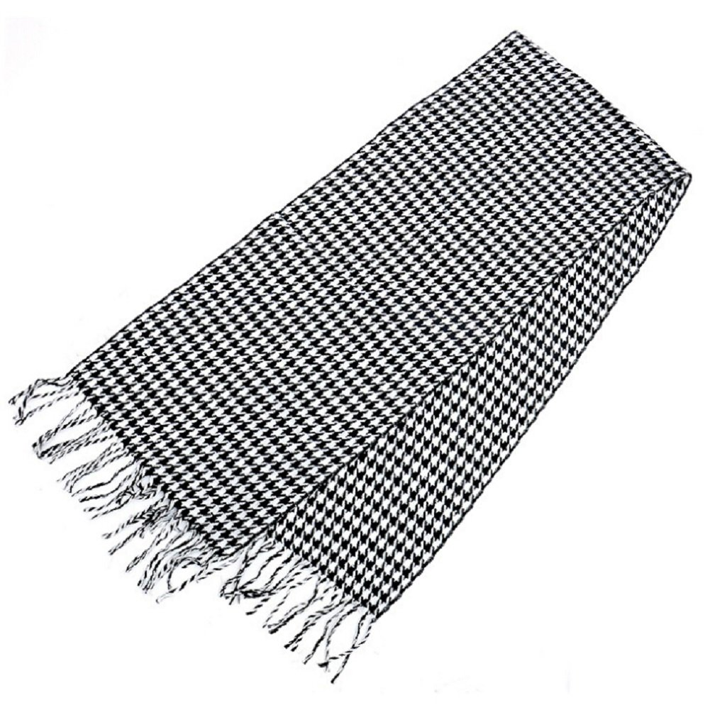 Black & White Houndstooth Cashmere Scarf Made in Scotland ZXG00000130