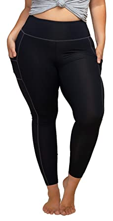2a2548ad9 KQUZO Women s Plus Size High Waist 7 8 Compression Workout Leggings with  Pocket 27 quot