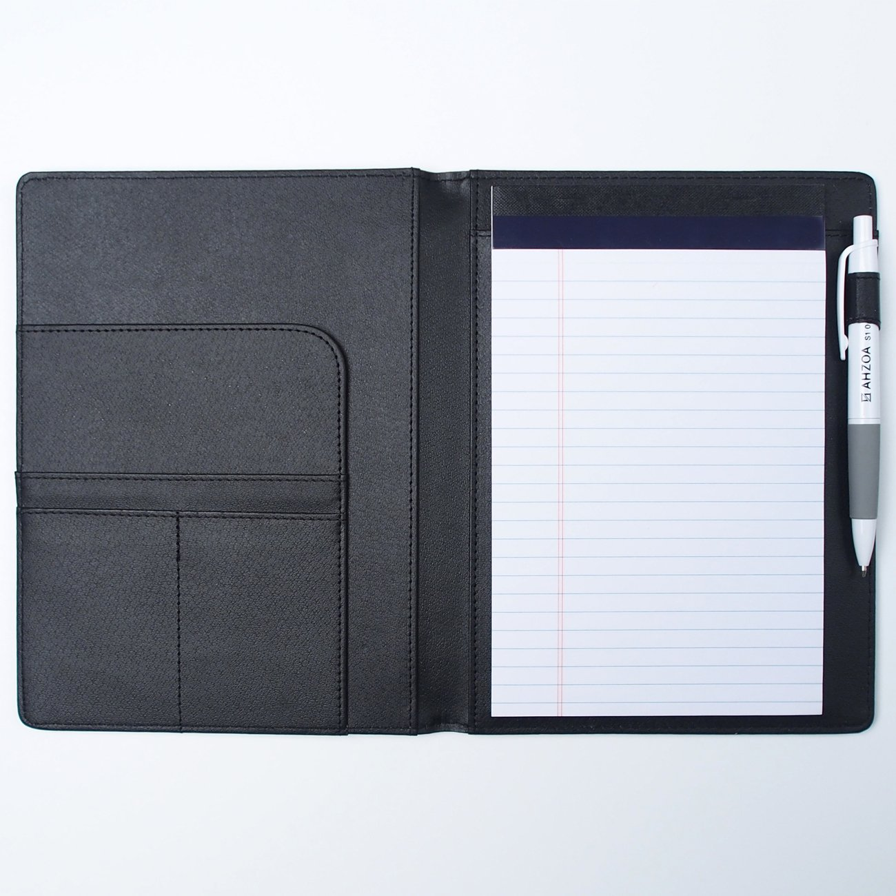 AHZOA 4 Pockets A5 Size Memo Padfolio S5 with Mechanical Pencil, Including 5 X 8 inch Legal Writing Pad, Synthetic Leather Handmade 6.61 X 8.66 inch Notepad Clipboard Holder (Black)