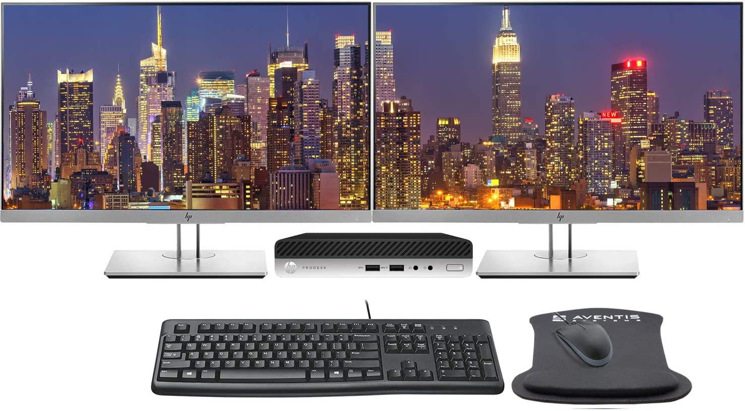 "HP ProDesk 400 G5 Desktop Mini PC Bundle with Dual (2) 24"" FHD HP E243 Monitors, Keyboard, Mouse, WiFi, Intel Core i5-9500T, 16GB, 500GB NVME SSD, Windows 10 Professional"