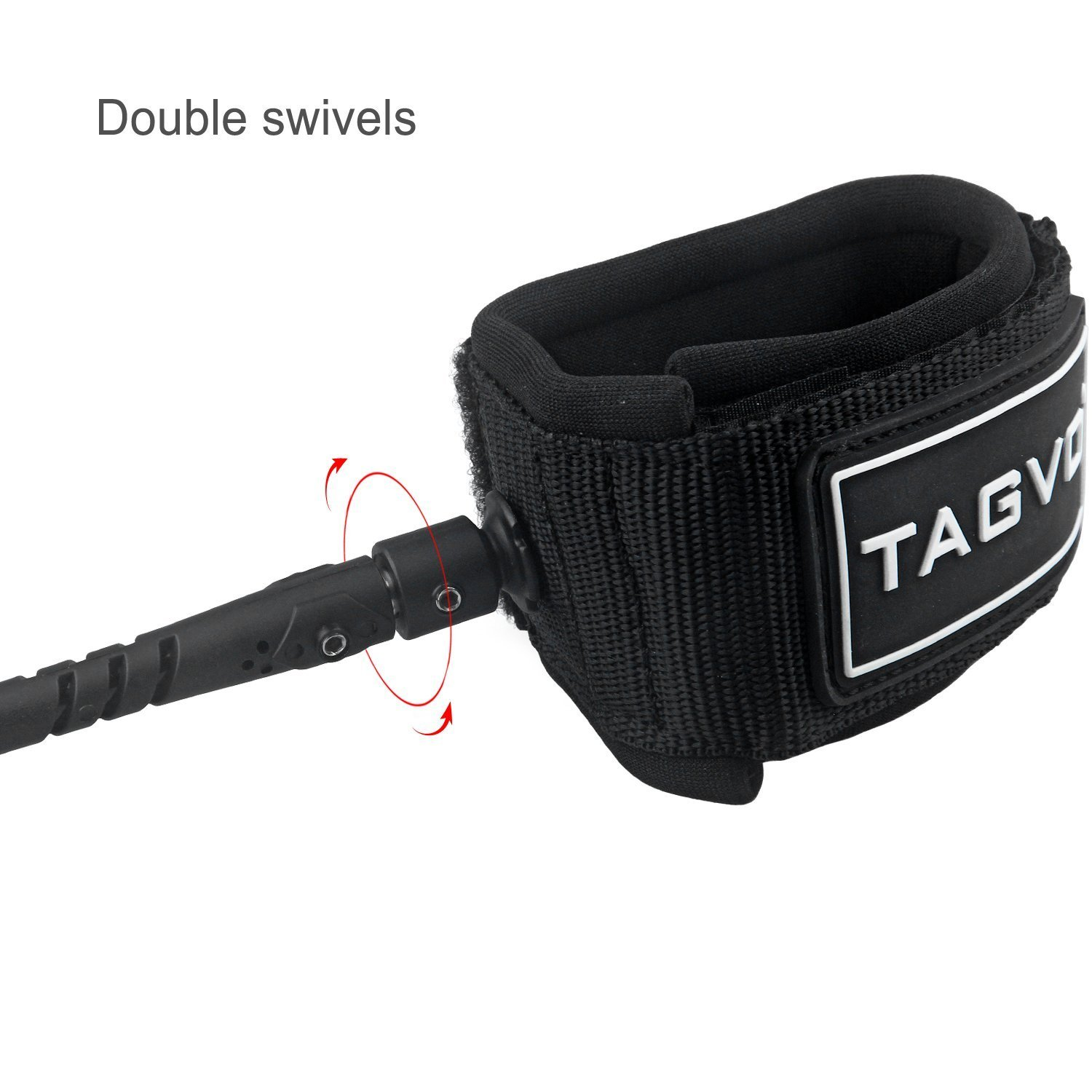 Comfortable Padded Neoprene Ankle Cuff Stand up Paddle Board Leash with Double Swivels Anti-rust Flexible Surfboard Leash Tagvo Sup Leash Coiled 10 Super Strong 7mm Cord with Waterproof Waist Pouch