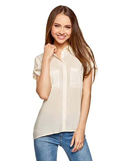 cheap price great deals latest fashion oodji Ultra Femme Blouse en Viscose avec Poches Poitrine