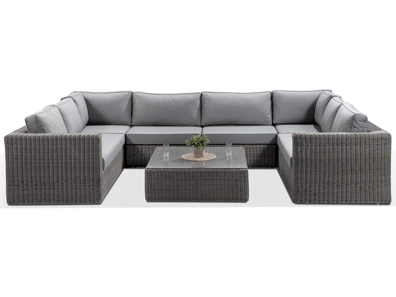 Alexander Francis Tosca Grey Large U Shaped Rattan Sofa with ...