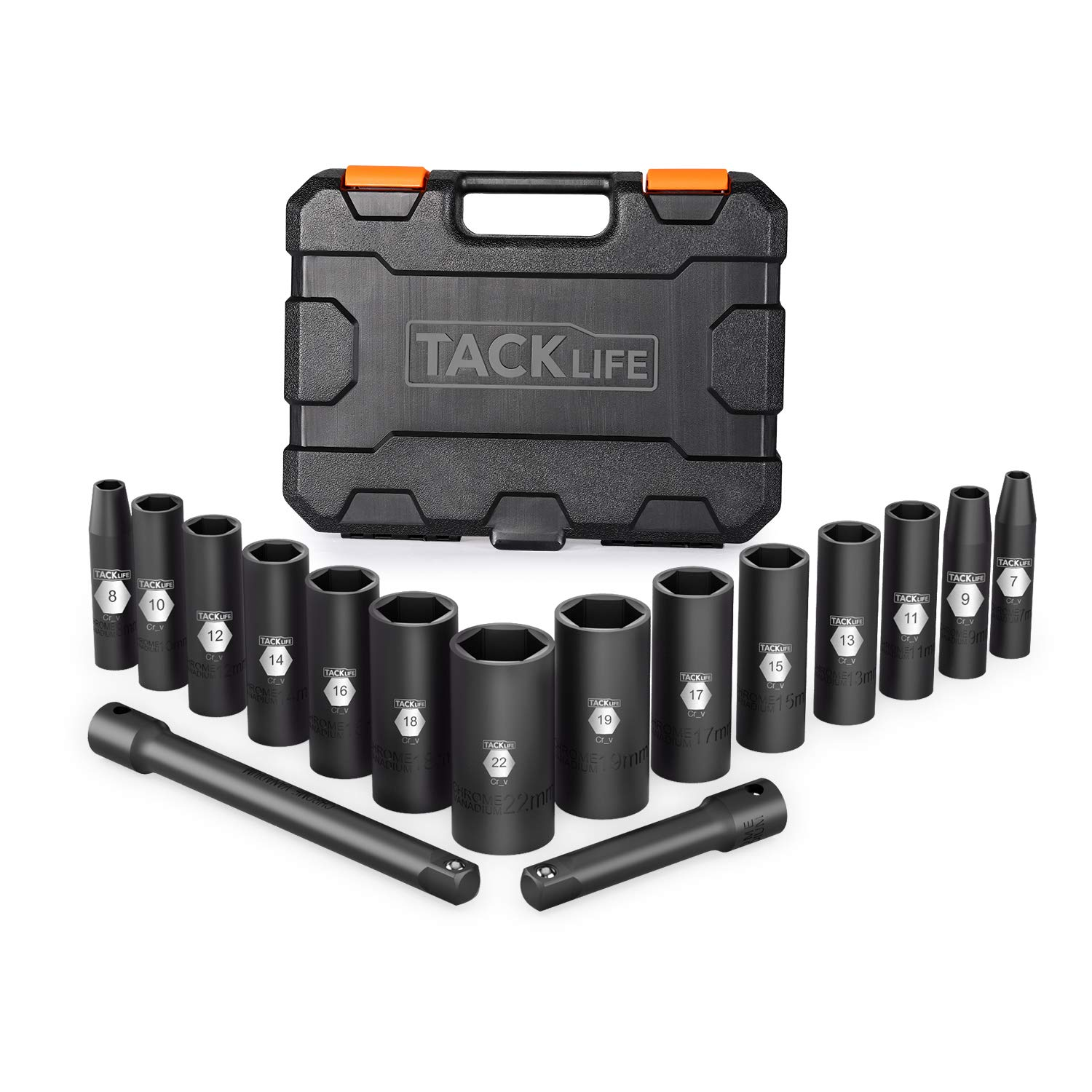 Tacklife 3/8-Inch 16pcs Drive Deep Impact Socket Set,Metric,CR-V Steel,6-point,3'' and 6'' extensions -HIS4A by TACKLIFE