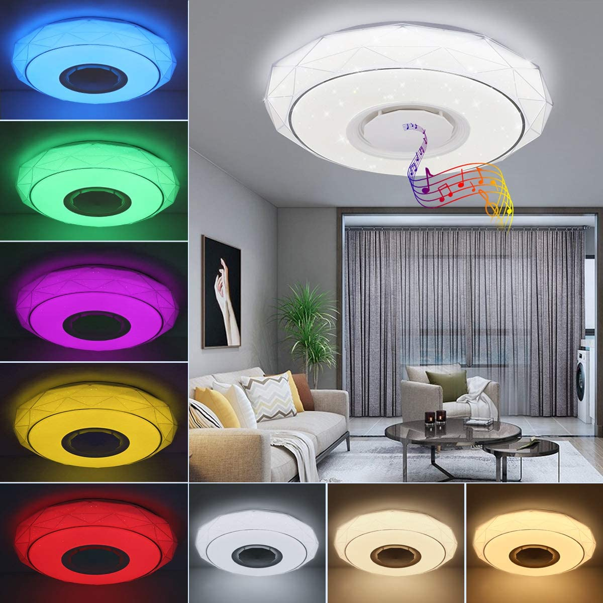 SHILOOK Lámpara LED de Techo Regulable con Altavoz Bluetooth, Mando a Distancia y Aplicación, 24W RGB Cambio de Color para Domitorios Juveniles Salón, 3000-6500K Estrellas Moderna Redonda 40cm