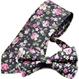 Flairs New York Floral Collection Neck Tie, Bow Tie & Pocket Square Matching Set
