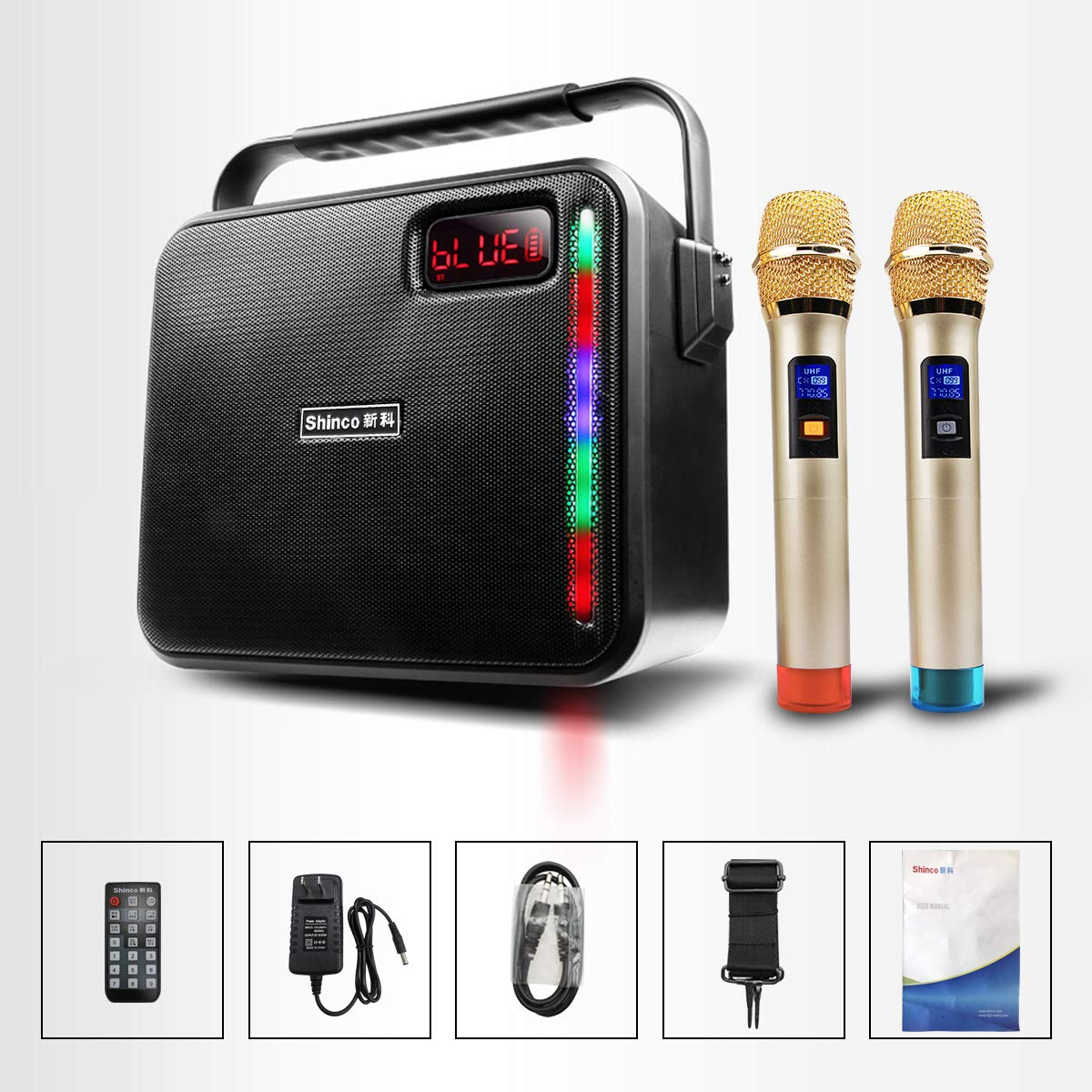 Shinco Portable PA System with 2 UHF Wireless Microphone, Bluetooth Karaoke Machine Battery Powered PA Speaker for Party Classroom Church Meeting (2 MIC)