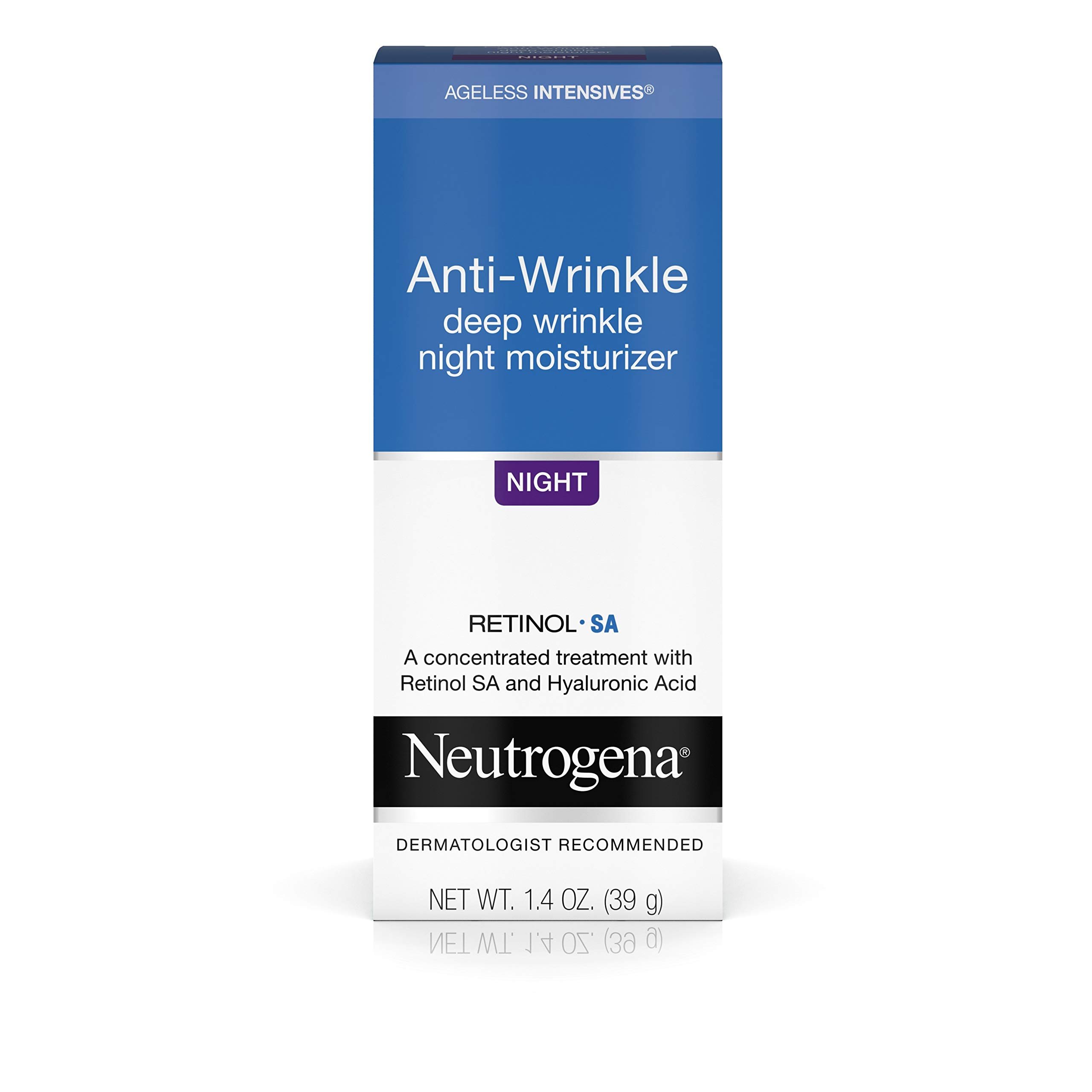 Neutrogena Ageless Intensives Anti Wrinkle Cream with Retinol and Hyaluronic Acid - Night Cream with Shea Butter, Vitamin E, Vitamin A, Glycerin, Hyaluronic Acid, 1.4 oz by Neutrogena