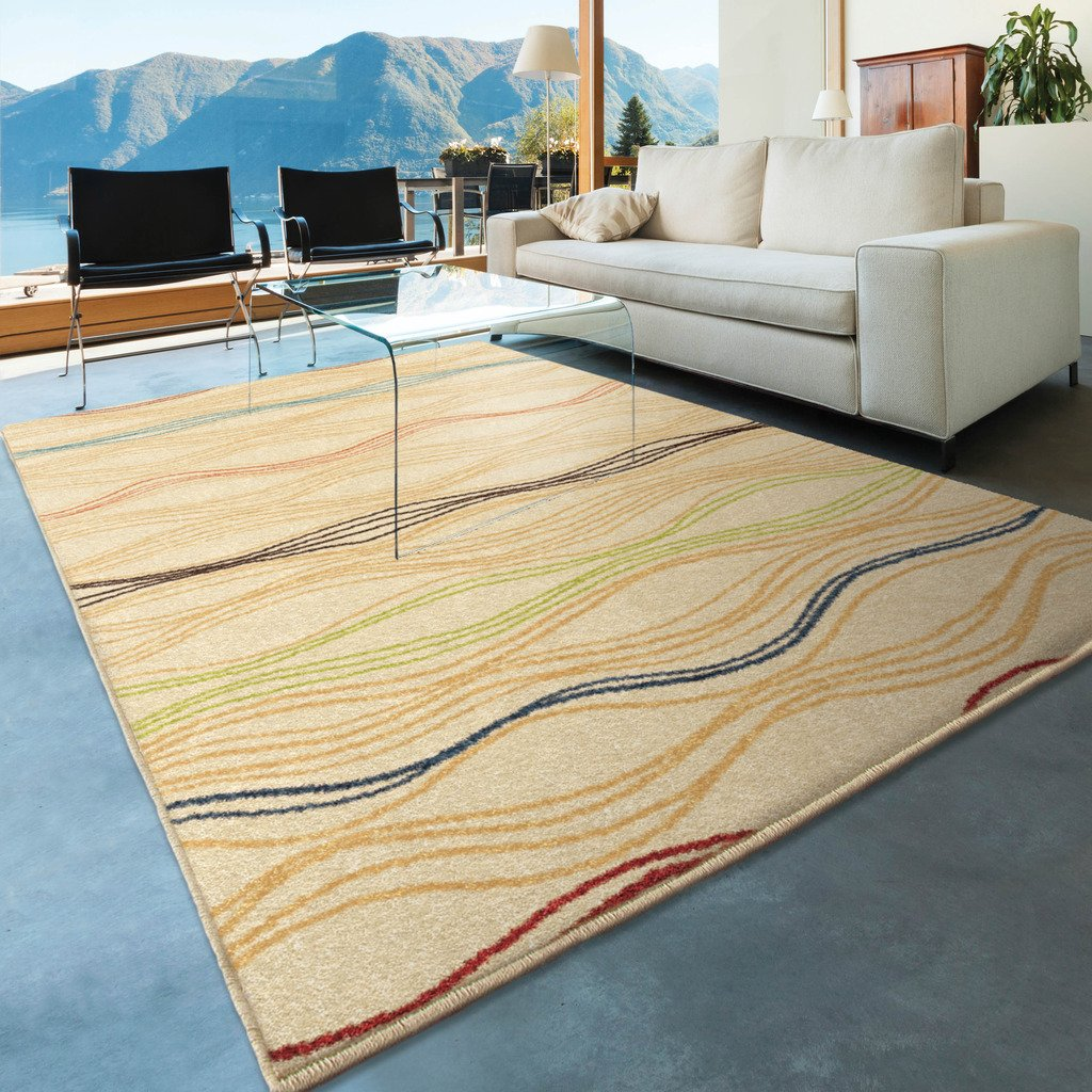 Orian Rugs Indoor/Outdoor Striped Lourdes Ivory Area Rug (5'2 x 7'6) 326086