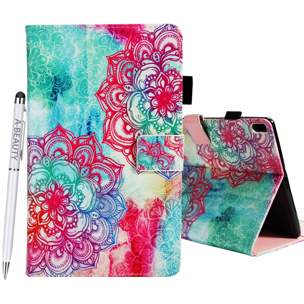 A-BEAUTY Lenovo Tab 4 10 Plus case, Painted Leather Soft TPU [Card Slots] Stand Wallet Smart Cover Shockproof For Lenovo Tab 4 10 Plus Tablet 2017 Release + 1* Free Stylus Pen, Datura Flowers