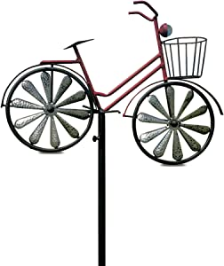 WHW Whole House Worlds Americana Red Bike Garden Stake with Spinning Wheels, Front Basket, Vintage Style Details, Outdoor Decoration, Rustic Red with Antiqued Finish, Over 4 Feet Tall (52 Inches)