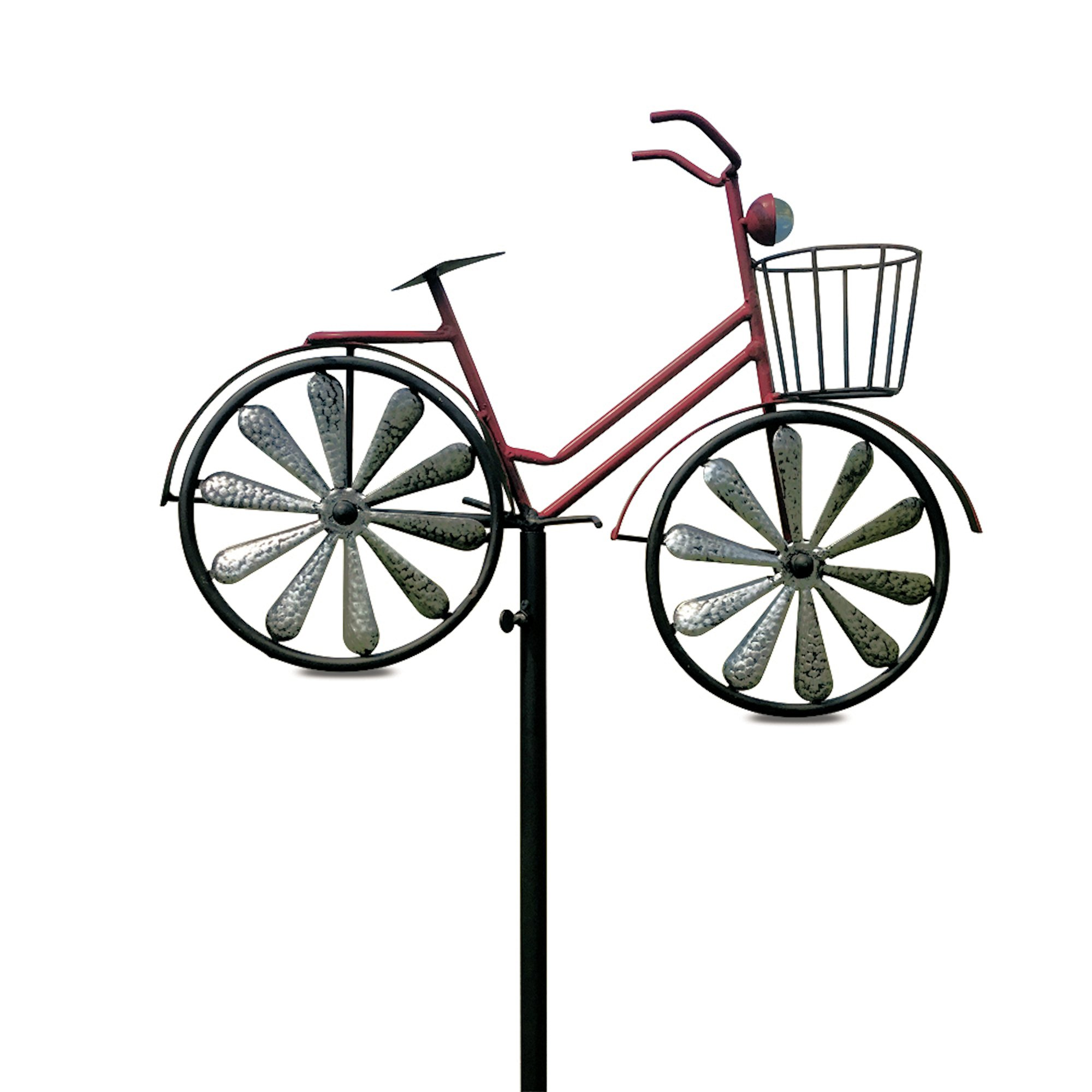 Whole House Worlds The Americana Red Bike Garden Stake with Spinning Wheels, Front Basket, Vintage Style Details, Outdoor Decoration, Rustic Red with Antiqued Finish, Over 4 Feet Tall (52 inches)