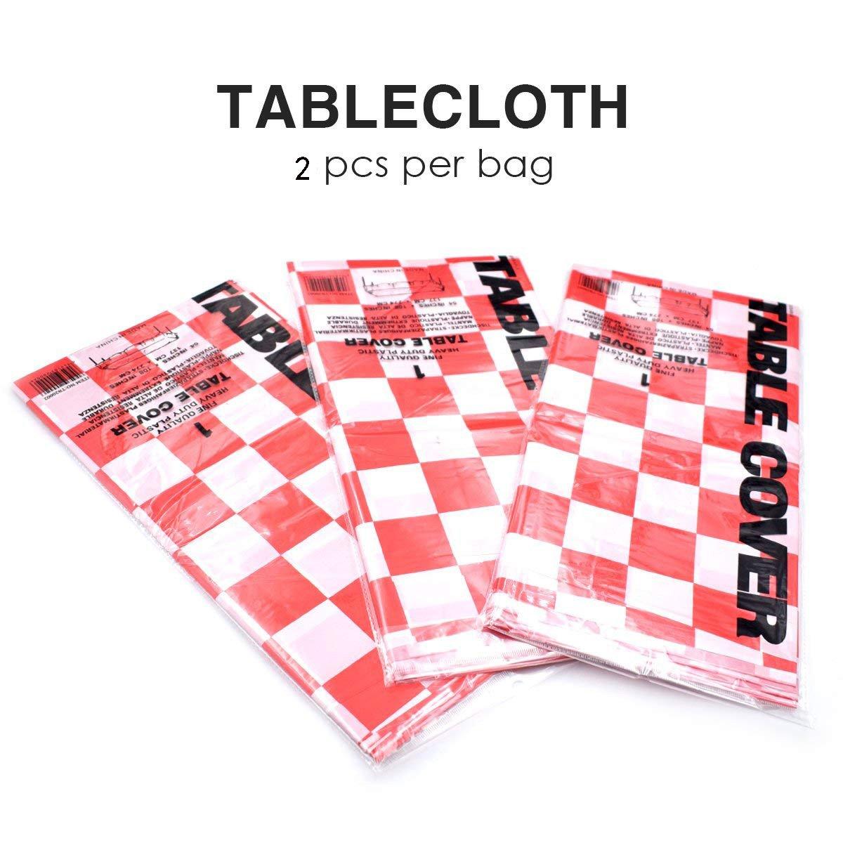 2 Paquetes Manteles de Pl/ástico Restaurante de Boda Banquete Decoraci/ón 137 x 274cm Desechables Manteles Rojos y Blancos Enrejado Yooyee Manteles Mesa Rectangular