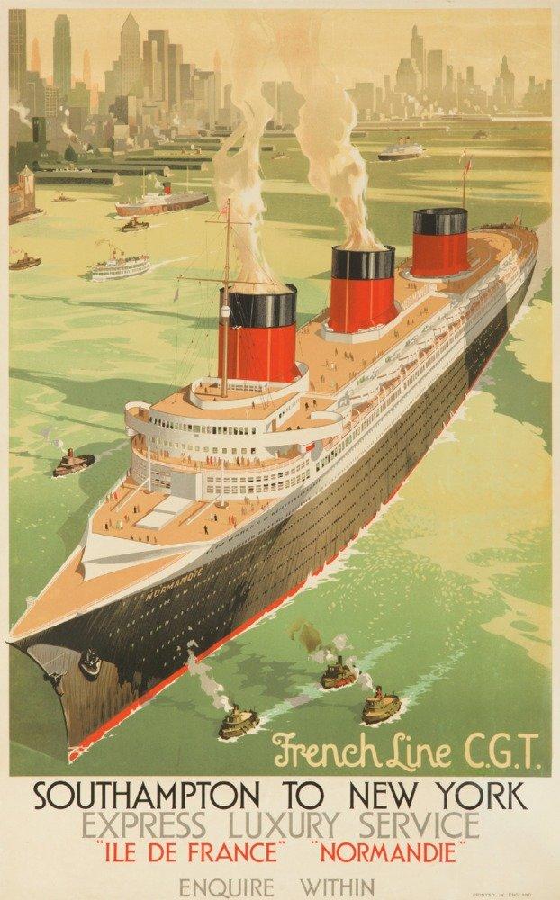 ノルマンディーフランスライン –  – Southampton to New YorkビンテージポスターC。1936 36 x 54 Giclee Print LANT-63864-36x54 36 x 54 Giclee Print  B01M3TEFSC