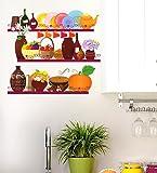 Decals Design 'Kitchen Utensils and Jars Storage' Wall Sticker (PVC Vinyl, 70 cm x 50 cm)