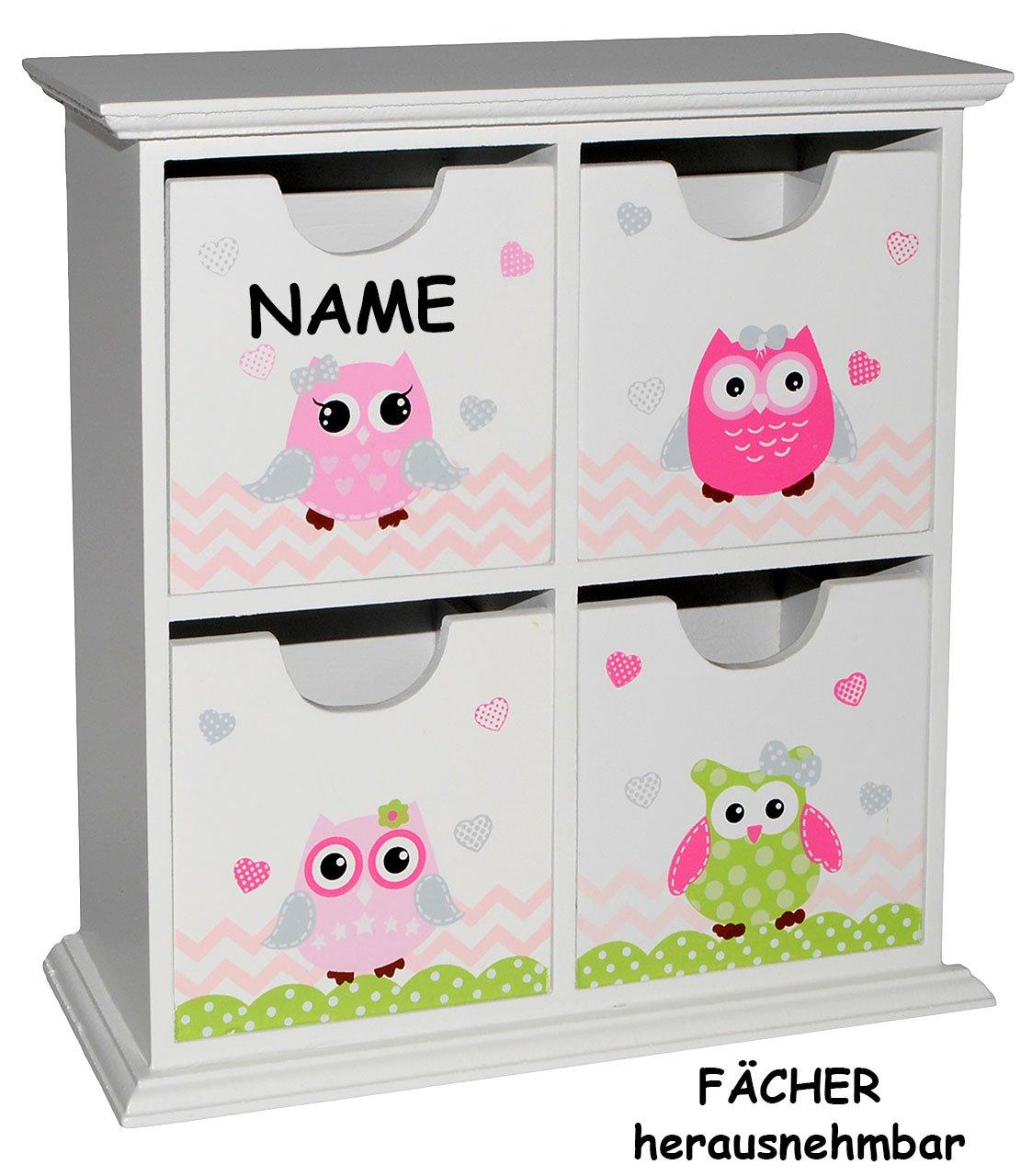 Tisch Kommode / Holzbox / Holzkiste mit Schubladen - incl. Namen ...