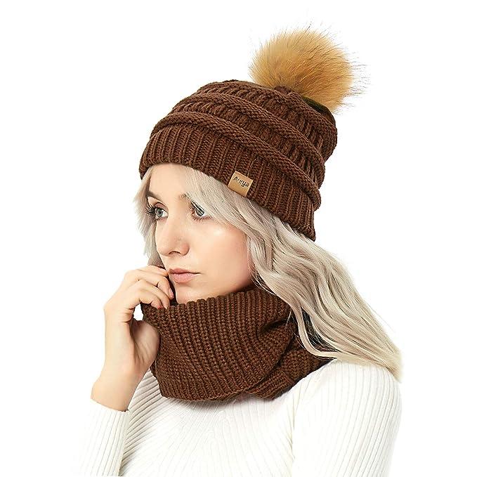 8cdd65af4 Womens Winter Warm Cable Knit Pom Pom Beanie Hat Cap and Infinity Scarf Set  by Aurya