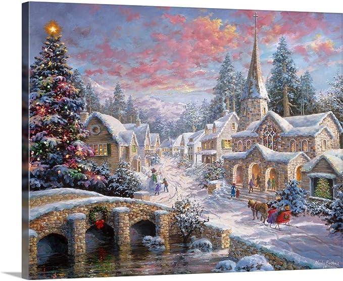 Amazon Com Heaven On Earth Canvas Wall Art Print Christmas Artwork Posters Prints