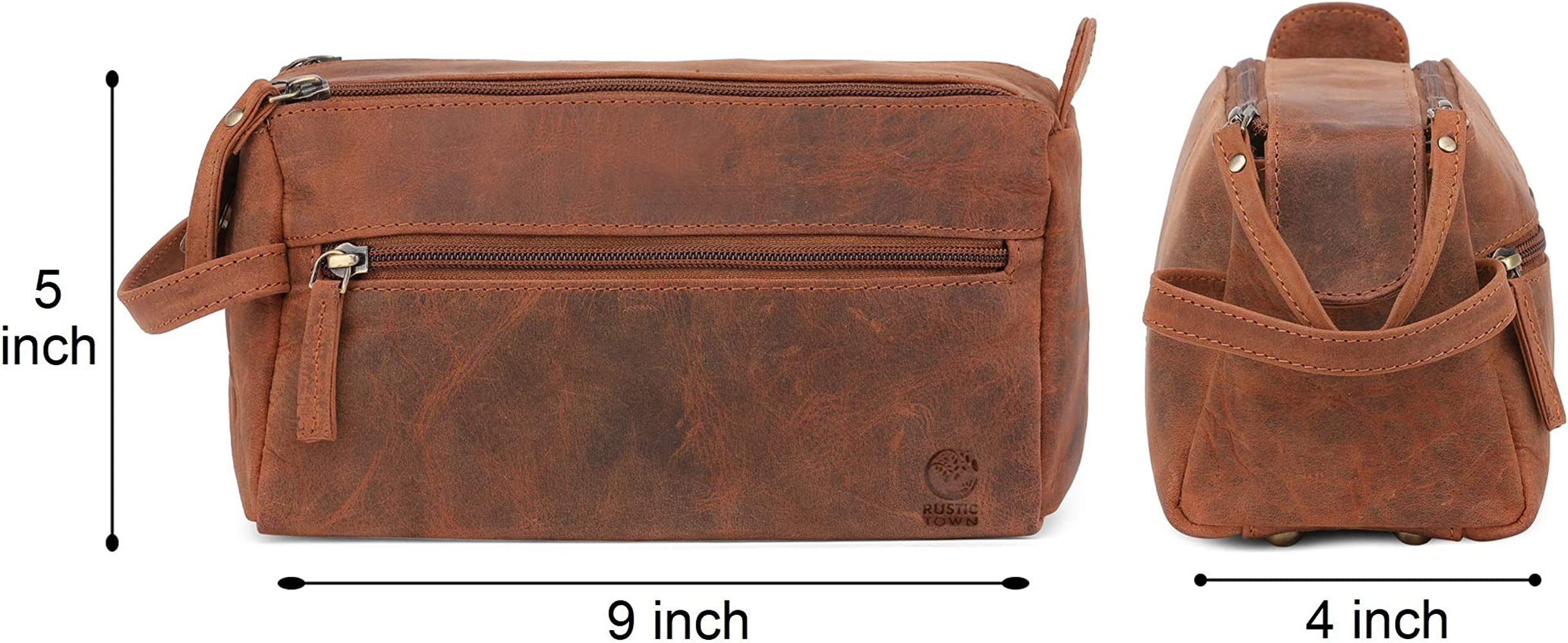83bfb766ff31 Leather Toiletry Bag for Men - Hygiene Organizer Travel Dopp Kit By Rustic  Town
