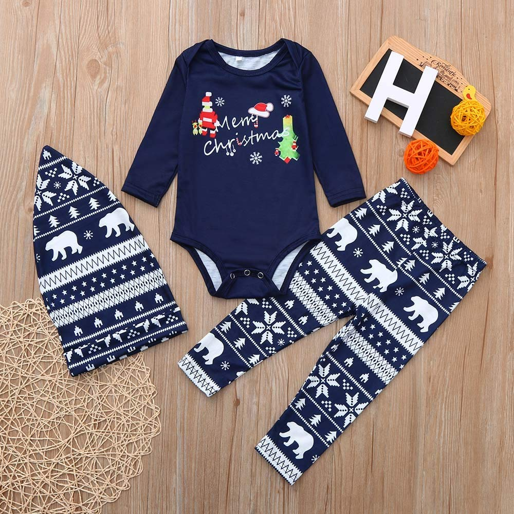 FTXJ 2PCS Christmas Lady Mom Daddy Baby Children Cartoon Letter Top+Deer Pants Family Clothes Pajamas