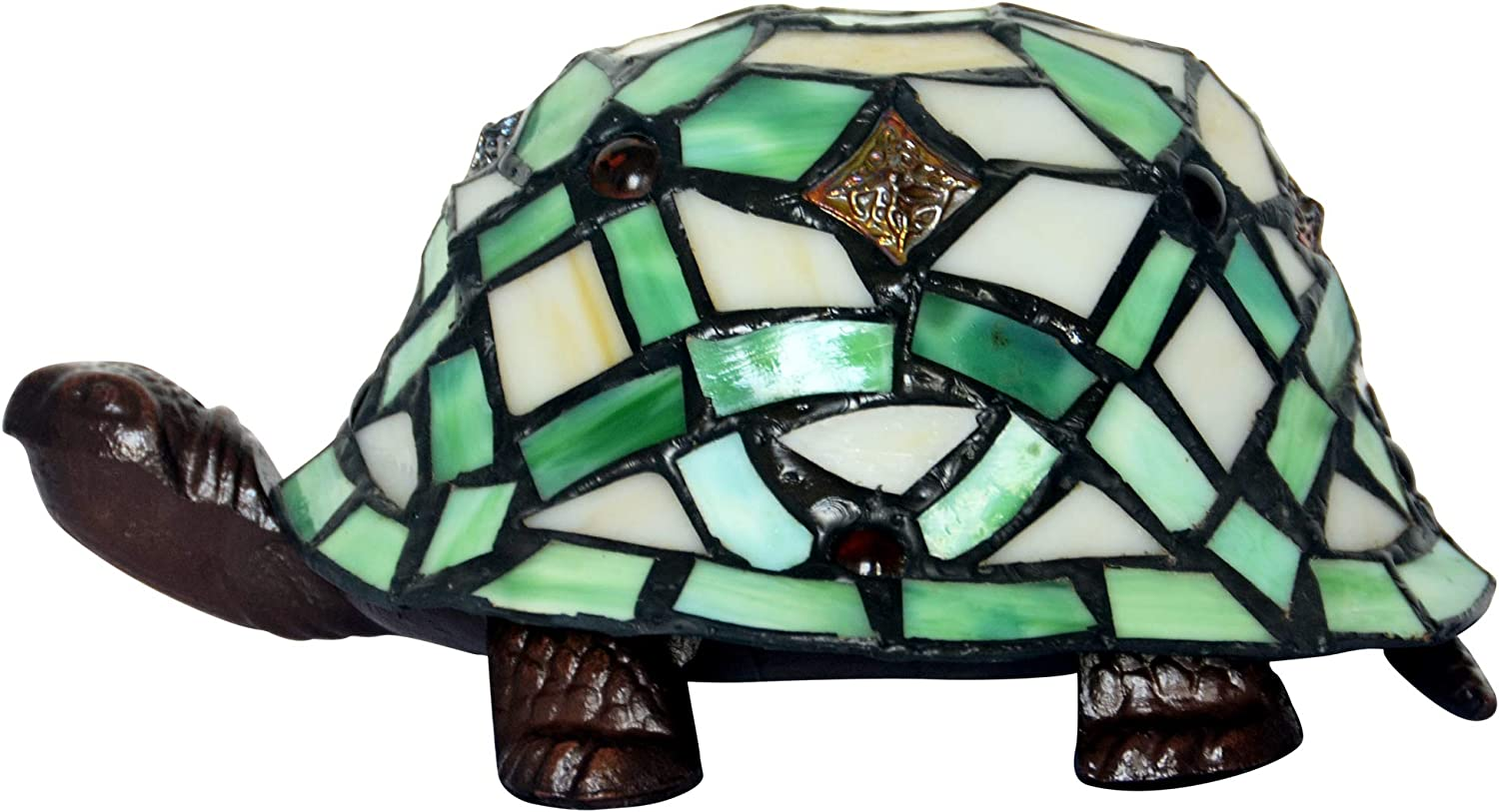 HT Tiffany Styled Turtle Accent Table Lamps, 6 inch Stained Glass Shade Night Light for bedrooms Living Room Green