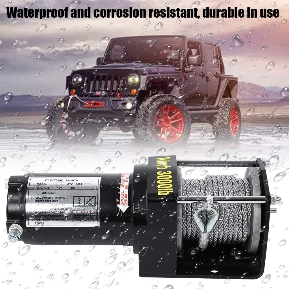 3000lbs Electric Recovery Winch 12V Wire Remote Control Kit for Truck SUV ATV Tow Boat Trailer Qiilu Recovery Winch