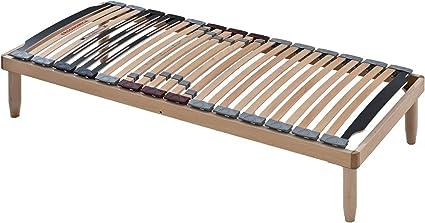 EvergreenWeb - Somier Individual 85x190 de Láminas Basculantes de Madera De Haya con Amortiguadores Reguladores de Rigidez Ergonómica, Reforzado, 4 ...