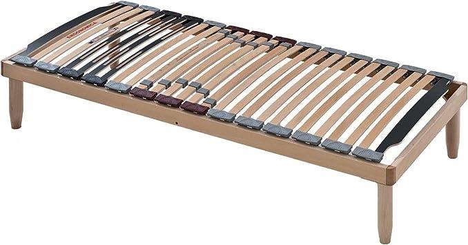 EvergreenWeb - Somier Madera ortopédico 85x200 láminas basculantes y Reguladores de dureza, ergonómico, Estructura Completamente de Madera, Adapto ...