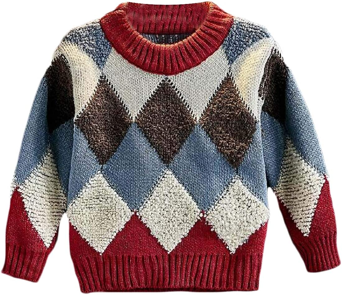 Joe Wenko Big Girls Winter Crewneck Cable Knit Wool Lined Pullover Sweaters