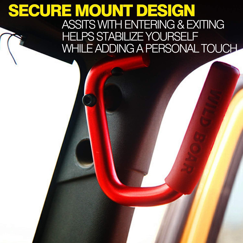 Moab Black Front Grab Bar Grab Handle Kit for 2007-2018 Jeep Wrangler JK JKU 2//4 Door Pair