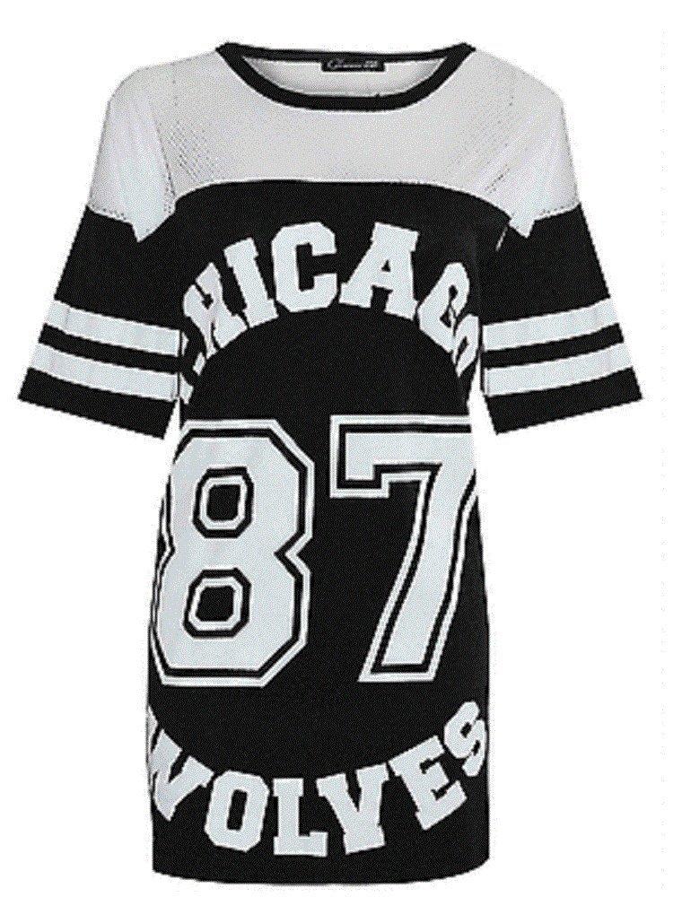 New Camiseta de fútbol para Hombre para Mujer American de balón de fútbol diseño de impresión en la Parte Superior y 87 Chicago Varsity College de Lobos T-de Manga Corta de Mujer 8-14