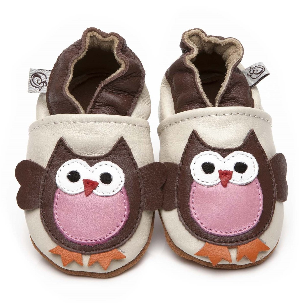Soft Leather Baby Shoes Owl 0-6 months Olea London