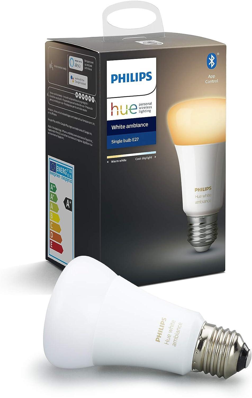 Philips Hue White Ambiance bombilla LED inteligente E27, luz blanca de cálida a fría, compatible con Bluetooth y Zigbee (Puente...