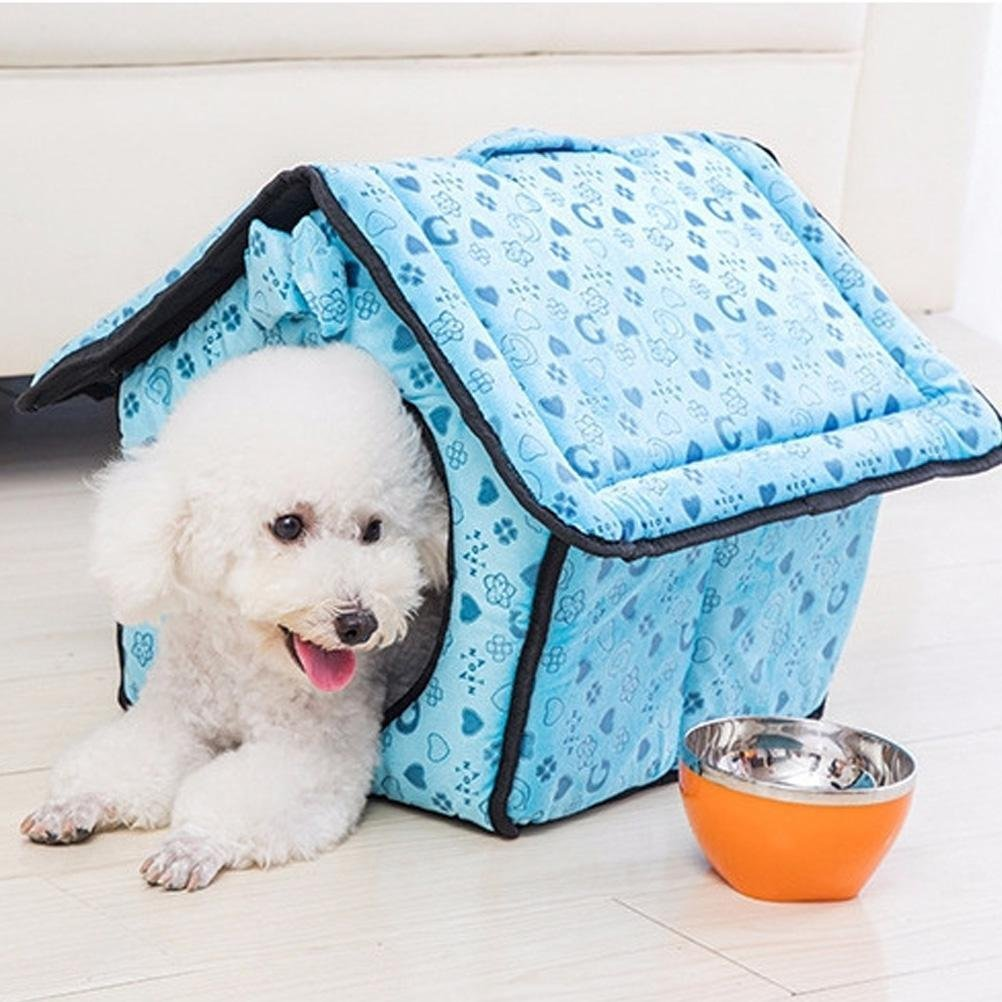 Cat Warmer Mat Removable and Washable Cat Dog Bed Pet MatsFoldable House bluee,M