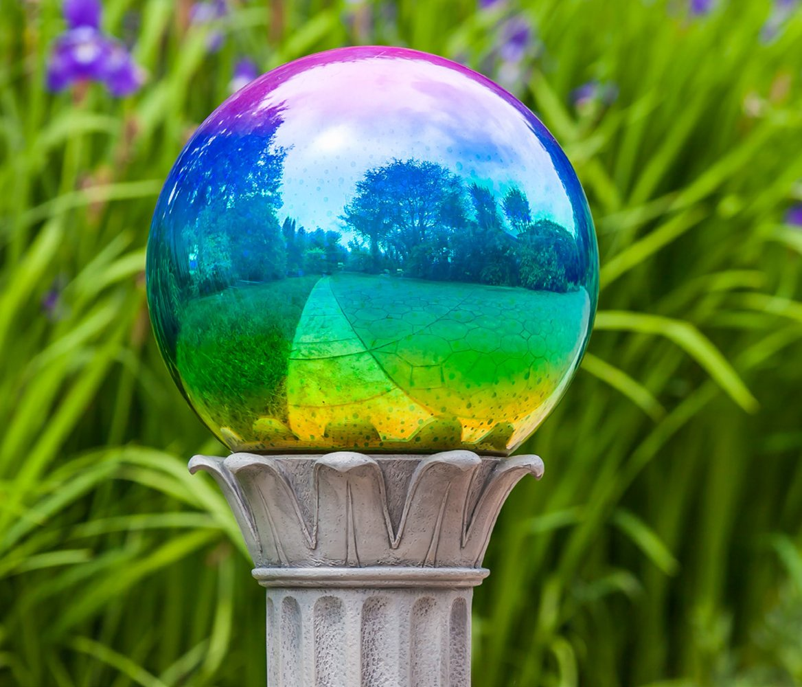 10 inch Glass Gazing Ball Polished Metallic Green/Purple Gazing Ball