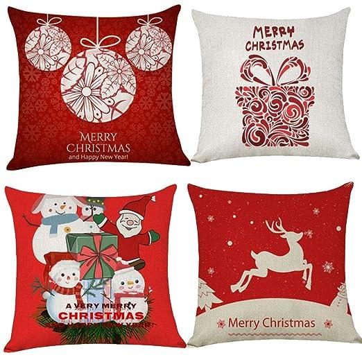 RANRANHOME Fundas Almohada Navidad 18X18 Patrón Impresión ...