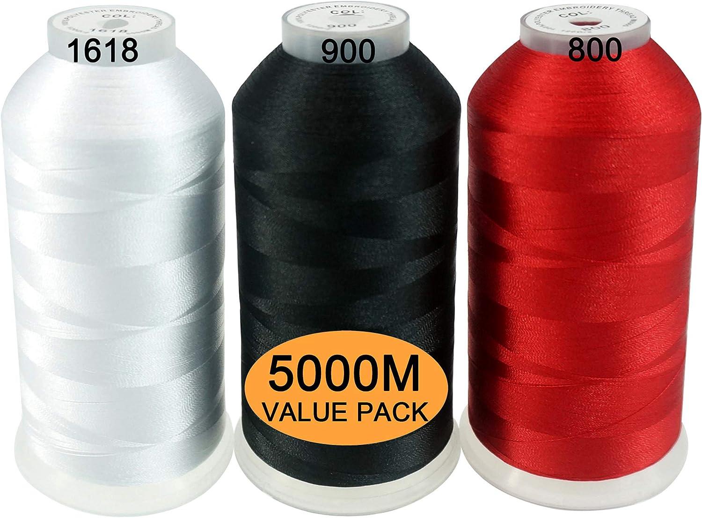 New brothread Conjunto de 3 Blanco/Negro/Rojo Colores Poliéster Bordado Máquina Hilo Grande carrete 5000M para todas las máquinas de bordado