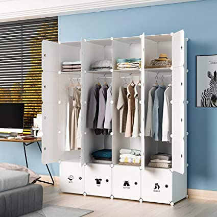 KOUSI Portable Wardrobe Closet for Bedroom Clothes Armoire Dresser  MultiFuncation Cube Storage Organizer, White, 8 Cubes+4 Hanging Sections
