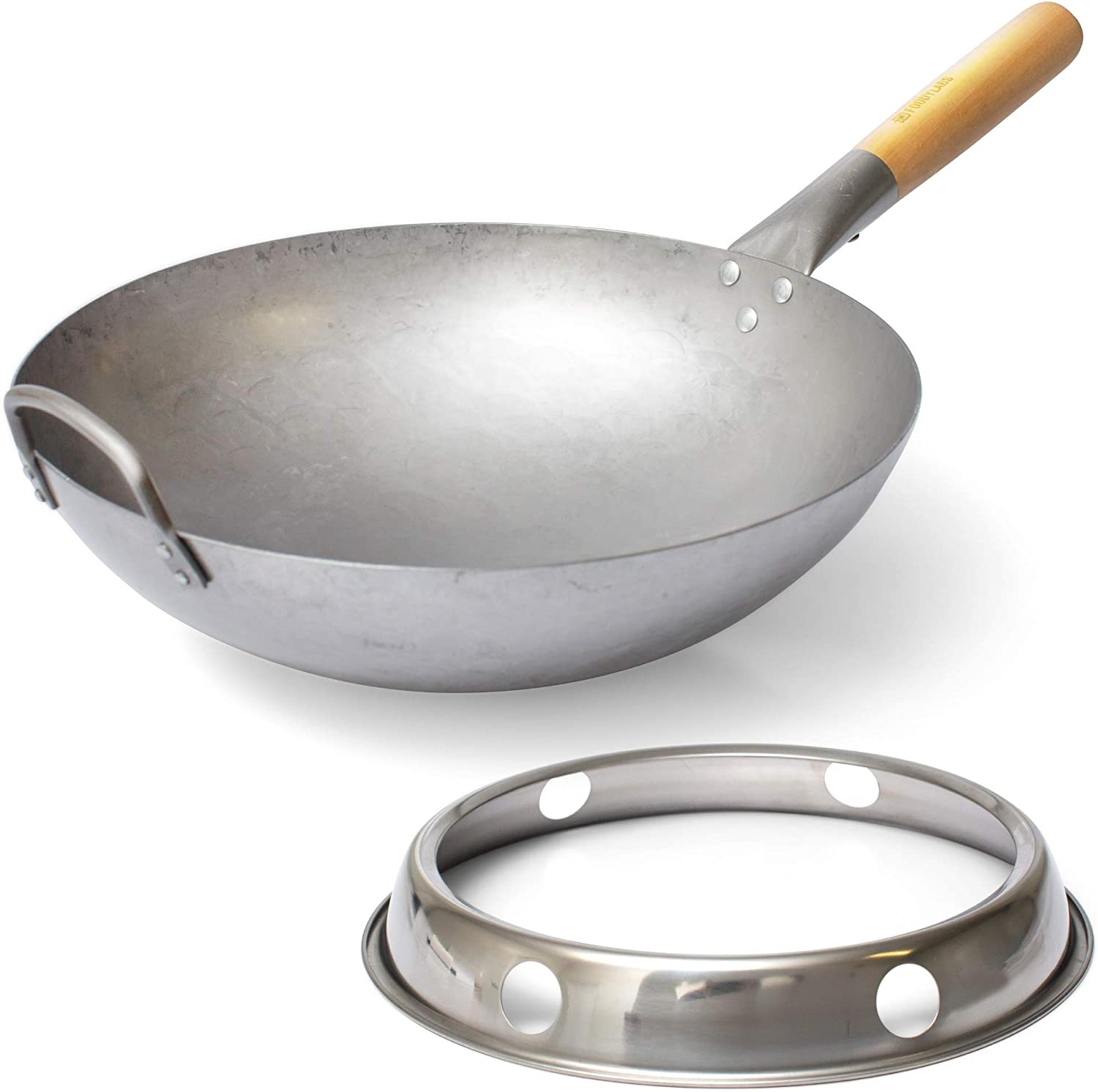 Wok Pan with Ring – Woks and Stir Fry Pans for Home and Professional Cooking – Authentic Hand hammered Carbon Steel Wok with Wooden Handle for Stir Fry Cooking - The Chinese Wok choice of Chefs