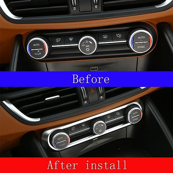 Für Giulia Stelvio 2017 Car Styling Abs Chrom Center Klimaanlage Anpassung Rahmen Rand Aufkleber Zubehör Amazon De Auto