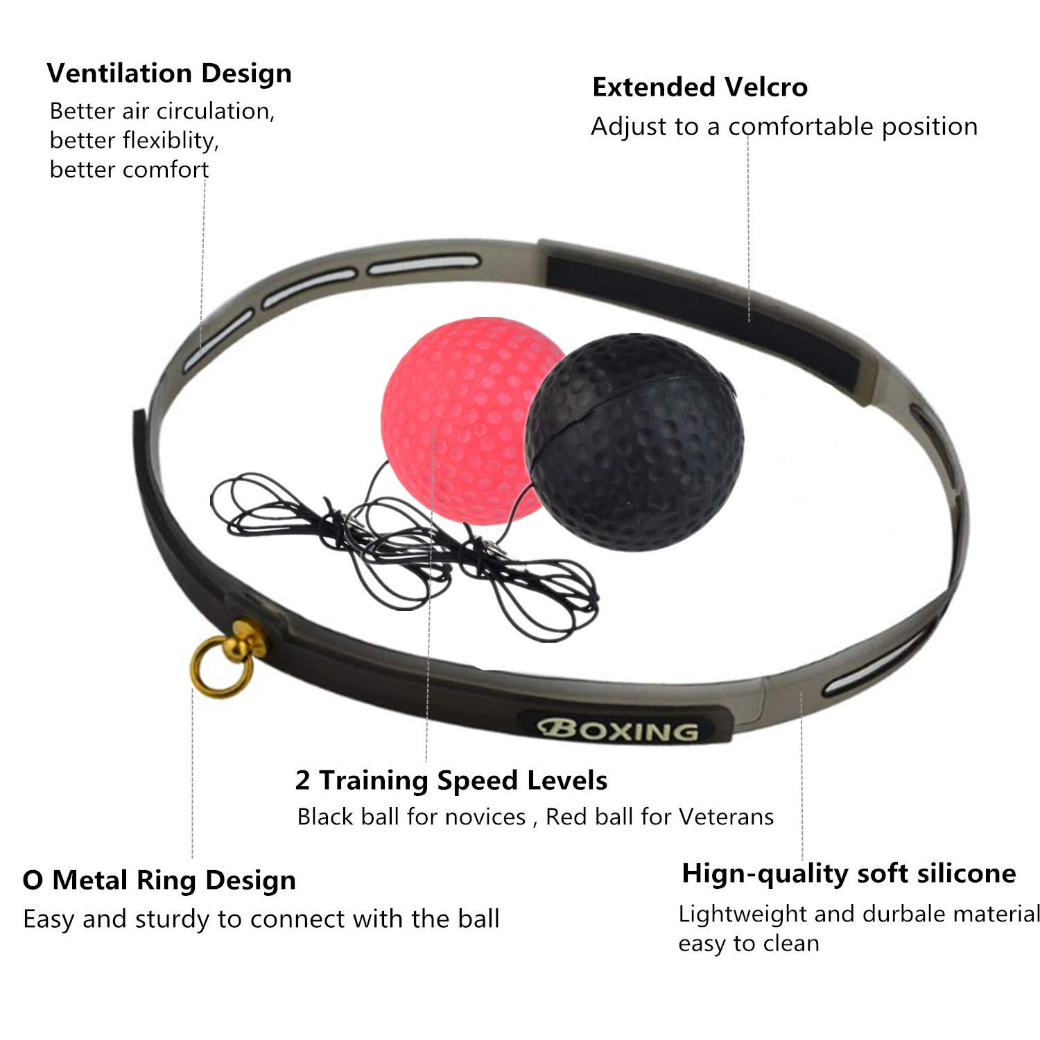 Reaction Speed Soft Safe Agility for Kids Sfee Boxing Reflex Ball Set Hand Eye Coordination Training 2 Training Difficulty Levels Box Ball with Non-Slip Headband Adjustable String Adult