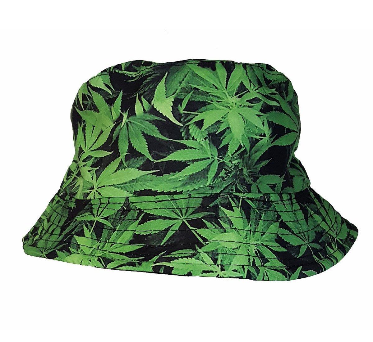Nice Colorful Cannabis diseño de hoja de marihuana cubo sombrero verde Mejor c69c4a7e03e