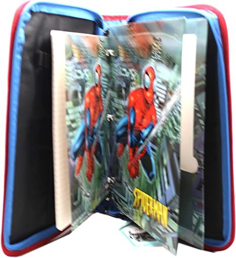Spider-Man Vinyl Cover Zippered 3-Ring Binder w//Notebook and Folder Set