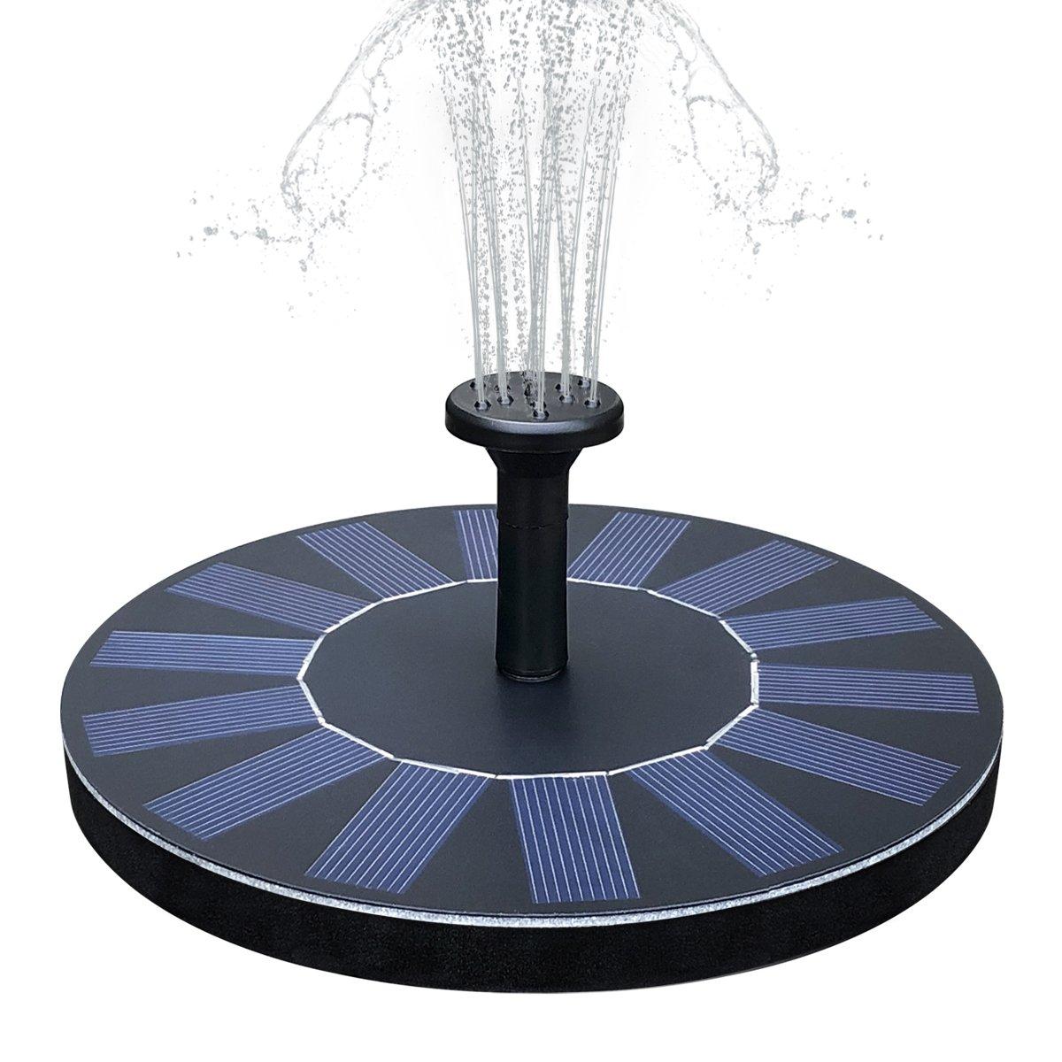 Feelle Solar Powered Bird Bath Fountain Pump 1.4W Solar Panel Fountain Kit, Outdoor Floating Submersible Water Fountain Pump for Pond, Pool, Garden, Fish Tank, Aquarium by Feelle