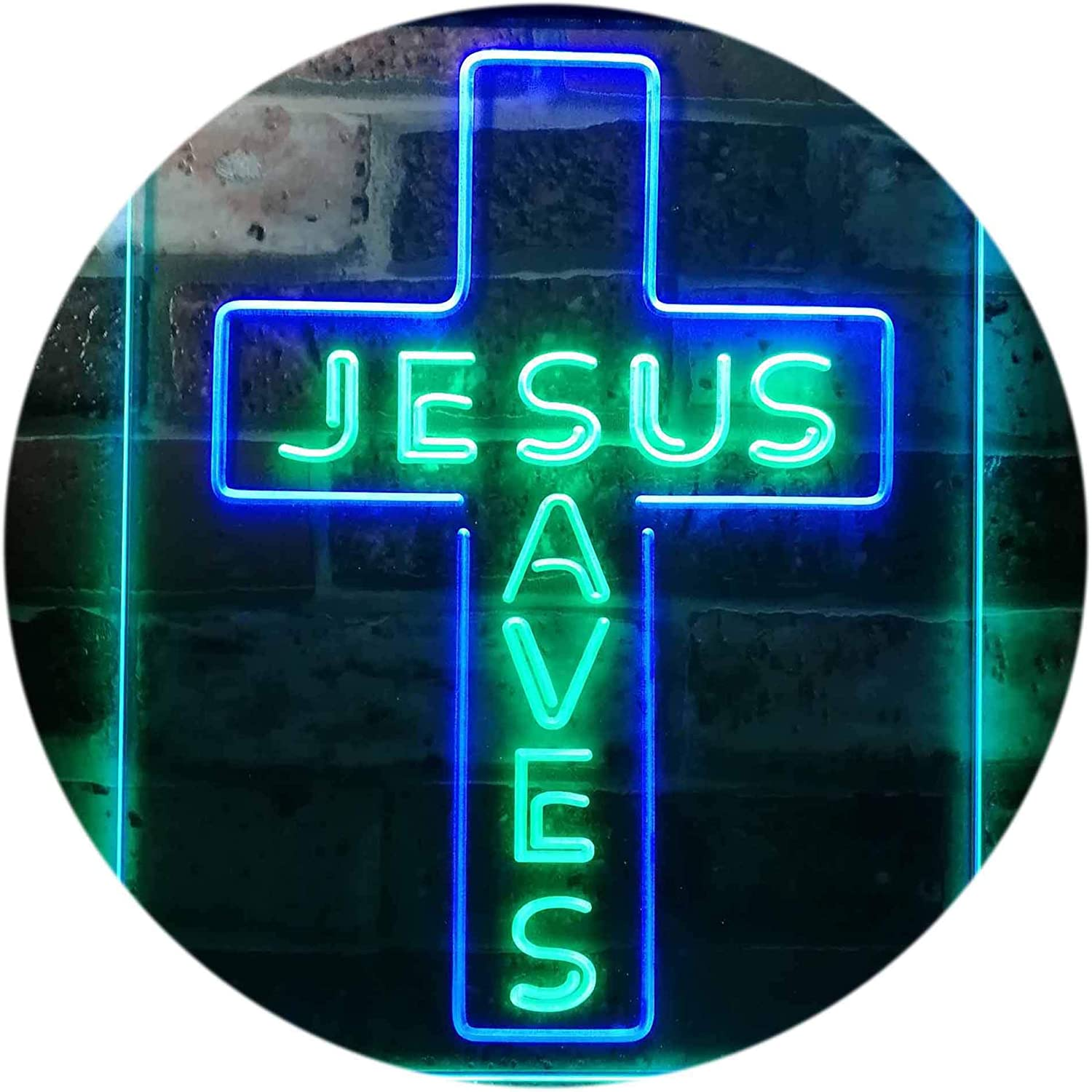 ADVPRO Jesus Saves Cross Wall Plaque Housewarming Gifts Dual Color LED Neon Sign Green & Blue 8.5