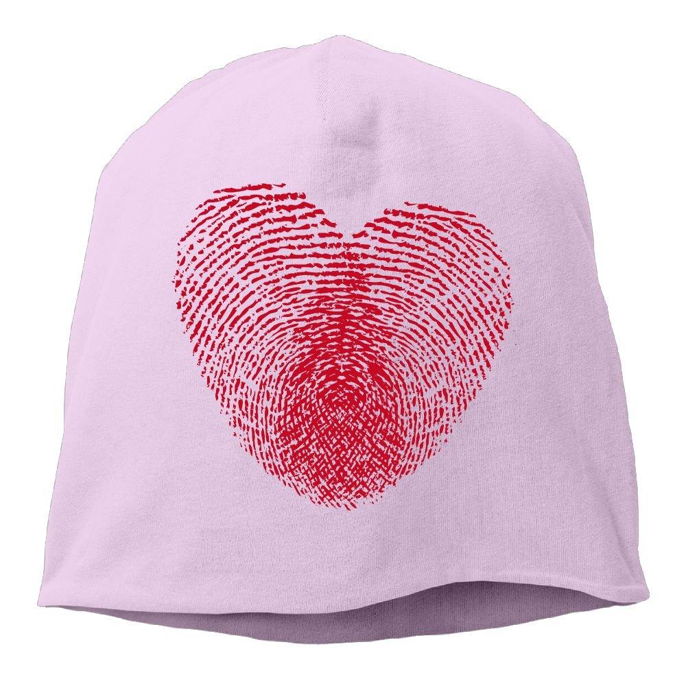Fashion Solid Color Fingerprint Love Turtleneck Cap for Unisex Red One Size